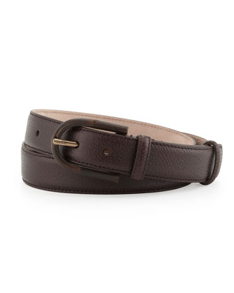 Bamboo-Buckle Leather Belt, Brown