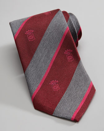 Crest Striped Silk Tie, Gray/Red
