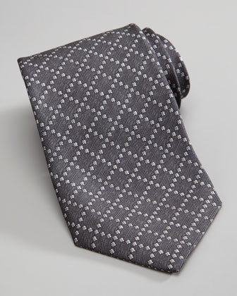 Diamante Silk Tie, Graphite/Ivory