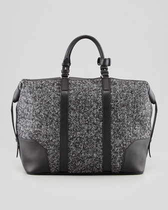 Men's Herringbone Weekender Bag, Gray