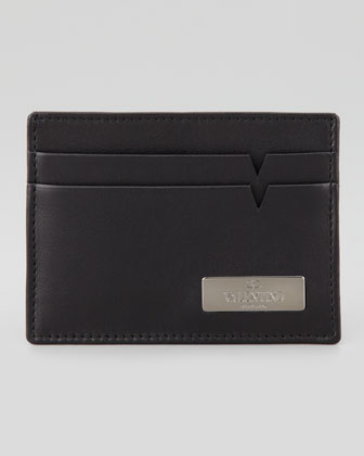 Leather Logo Card Case, Black