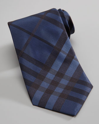 Check Silk Tie, Navy
