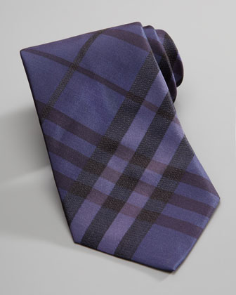 Check Silk Tie, Purple