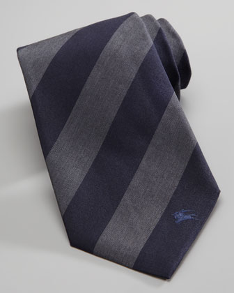 Striped Wool/Silk Tie, Navy