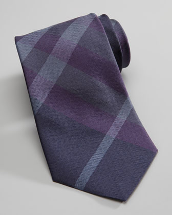 Check Square-Jacquard Tie, Navy
