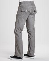 Ricky Straight-Leg Corduroy Jeans, Gray