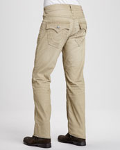 Ricky Straight-Leg Corduroy Pants, Tan