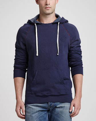 Branded Fleece Pullover Hoodie, Dark Navy
