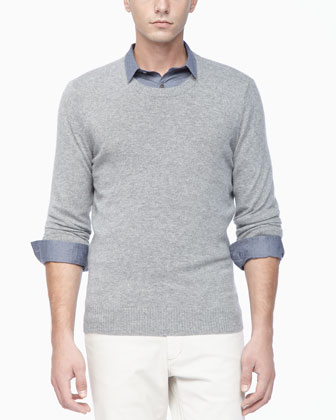 Crew Neckline Cashmere Sweater, Light Gray