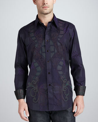 Limited Edition Bora Jacquard Sport Shirt, Navy