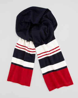 Striped Wool-Knit Scarf, Red/White/Navy