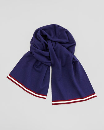 Striped Edge Wool Scarf, Navy