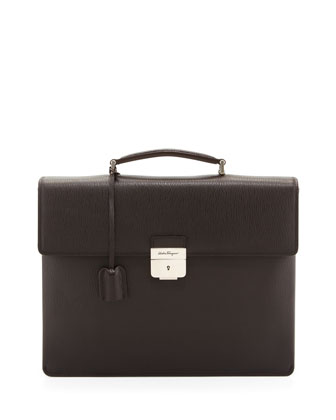 Revival Double-Gusset Briefcase, Brown
