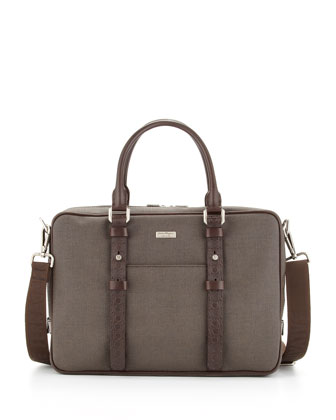 New Form Canvas/Leather Briefcase, Brown