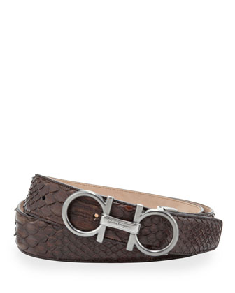 Python Double-Gancini Belt, Tan