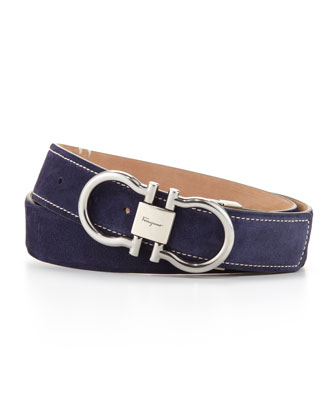 Suede Double Gancini Belt, Blue