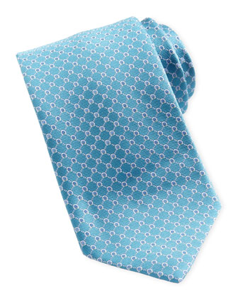 Woven Micro-Gancini Silk Tie, Aqua