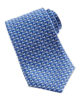 Snail-Print Silk Tie, Blue