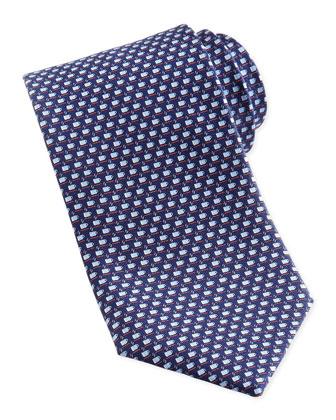 Espresso Cup-Print Silk Tie, Navy