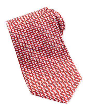 Frog-Print Silk Tie, Red