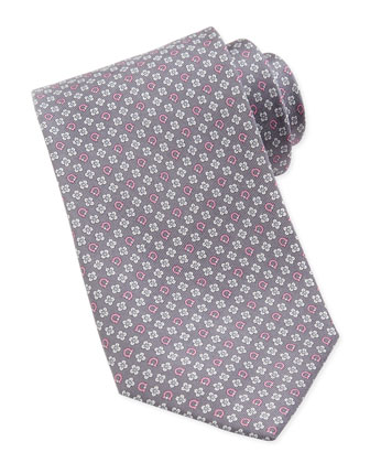 Gancini & Flower Silk Tie, Gray