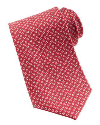 Gancini & Flower Silk Tie, Red