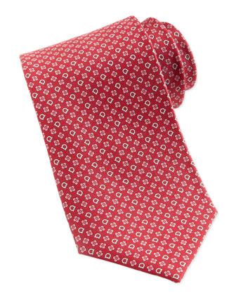 Gancini & Flower Silk Tie, Red