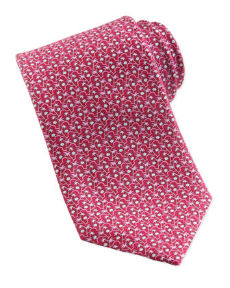 Palm Tree-Print Silk Tie, Magenta