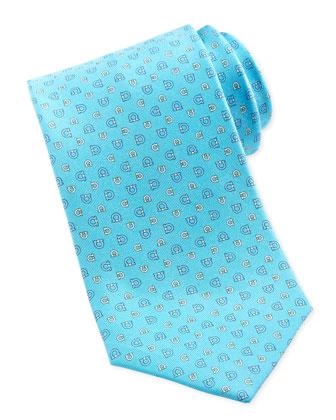 Dual-Gancini Silk Tie, Turquoise