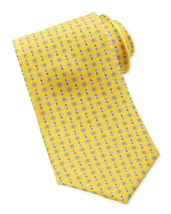 Floral & Insect-Print Silk Tie, Yellow