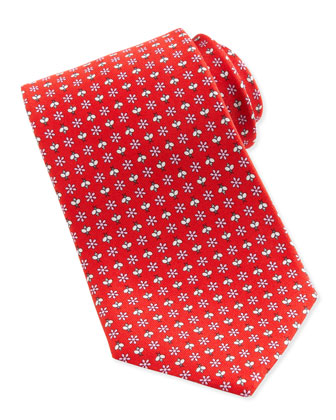 Floral & Insect Silk Tie, Red