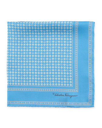 Gancini Flower Pocket Square, Blue
