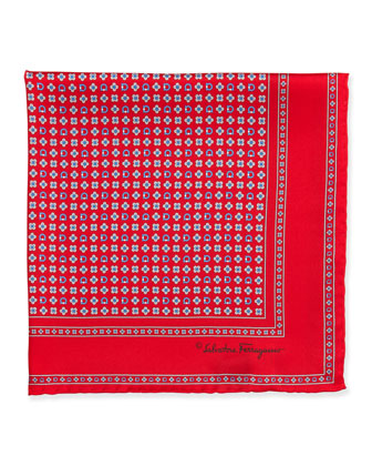 Gancini Flower Pocket Square, Red