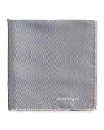 Silk-Twill Pocket Square, Gray