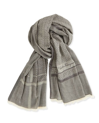 Men's Ombre Gancini Scarf, Black
