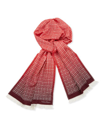 Men's Ombre Gancini Scarf, Red/Pink