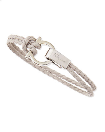 Woven Leather Gancini Bracelet, White