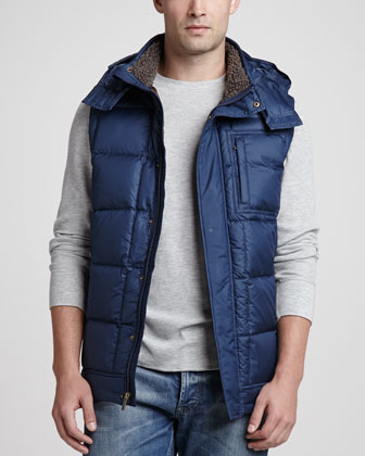 Poia Hooded Puffer Vest, Midnight
