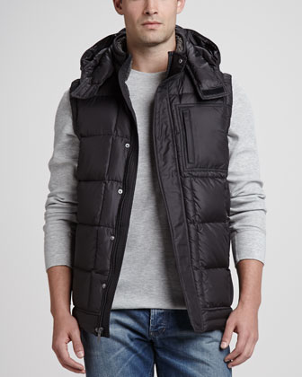 Poia Hooded Puffer Vest, Black