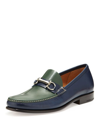 Raffaele Bicolor Leather Loafer, Blue/Dark Green