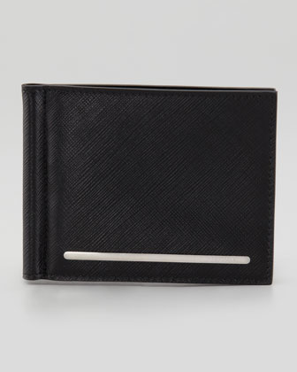Saffiano Card Case with Clip, Black