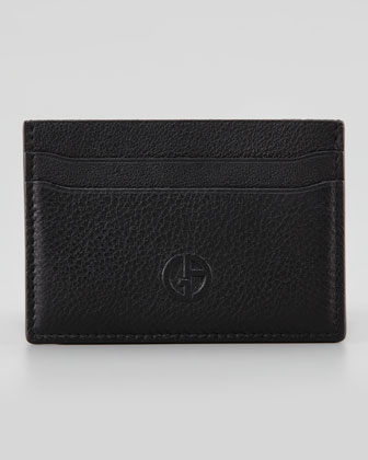 Logo Leather Card Case, Black
