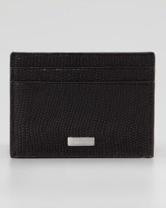Lizard-Stamped Card Case, Black