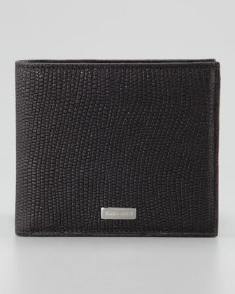 Lizard-Stamped Leather Wallet, Black