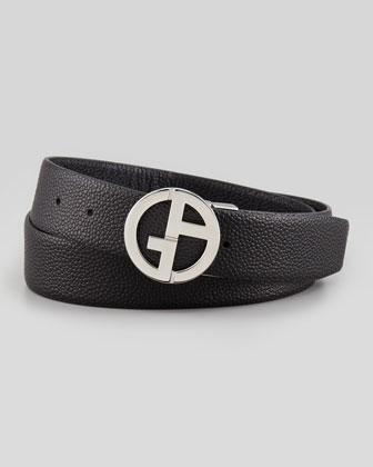 Reversible Pebbled Logo Belt, Black