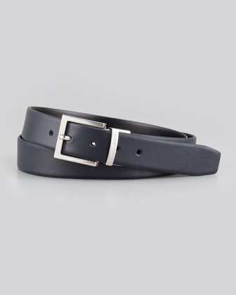 Reversible Saffiano-Smooth Belt