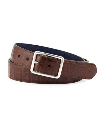 Ostrich/Croc Reversible Belt, Navy/Brown