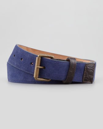 Suede Crocodile-Trim Belt, Navy