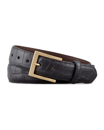 Matte Alligator Belt, Black