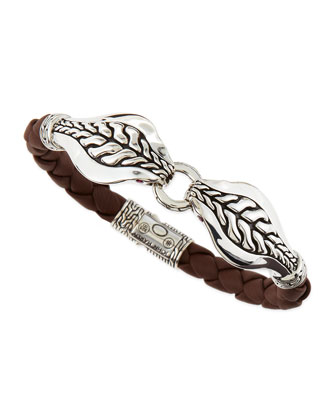 Men's Braided Leather Cobra Bracelet, Brown